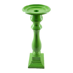 Powder-Coated Aluminum Pillar Candleholder, Green, Large - Metal pillar candleholder. Made in India. Wipe clean.