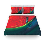 """Kess InHouse - Josh Serafin """"Glide"""" Red Blue Cotton Duvet Cover (Twin, 68"""" x 88"""") - Rest in comfort among this artistically inclined cotton blend duvet cover. This duvet cover is as light as a feather! You will be sure to be the envy of all of your guests with this aesthetically pleasing duvet. We highly recommend washing this as many times as you like as this material will not fade or lose comfort. Cotton blended, this duvet cover is not only beautiful and artistic but can be used year round with a duvet insert! Add our cotton shams to make your bed complete and looking stylish and artistic! Pillowcases not included."""