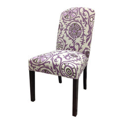 Sole Designs - Passion Cotton Parson Chair (Set of 2) - Add a dash of color to your home decor with these Divani Designs Purple Passion Camelback Chairs. These chairs feature a purple and white fabric upholstery and a soft foam fill for added comfort. Features: -Set of 2.-Upholstery: Purple 100% cotton fabric.-Camelback.-Espresso legs.-Straight legs.-Fire retardant foam.-Wipe clean.-Made in the USA.-Frame construction: Hardwood.-Finish: Wood.-Distressed: No.-Country of Manufacture: United States.Dimensions: -Overall dimensions: 41'' H x 21'' W x 24.5'' D.-Overall Product Weight: 23 lbs.