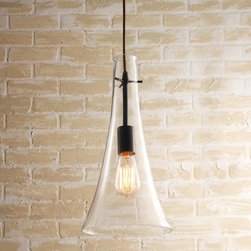 Vintage Industrial Clear Cone Shaped Pendant -
