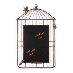 Grace Feyock - Grace Feyock Bird Cage Chalkboard Wall Art X-75731 - Hand forged metal finished in heavily antiqued golden bronze with burnished edges. Six bird magnets included.