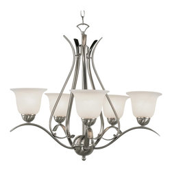 Trans Globe Lighting - Trans Globe Lighting ES Ribbon Branched Transitional Chandelier X-NB 5829-LP - This appealing chandelier is casual yet refined. The marbleized glass shades distribute the light softly. The Trans Globe Lighting ES Ribbon Branched Transitional chandelier features an elegant metal frame in a brushed nickel or rubbed oil bronze finish. The fabulous chandelier is a great decor accent to create a sophisticated atmosphere.