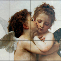The Tile Mural Store (USA) - Tile Mural - The First Kiss, C. 1873 - Kitchen Backsplash Ideas - This beautiful artwork by William Bougeureau has been digitally reproduced for tiles and depicts the famous painting First Kiss.William Bougeureau (1825 to 1905) created a lush fantasy realm filled with idealized mythological figures, angels, women and children. His masterful command of human form, delicate colors and enchanted light brought the souls and spirits of his subjects to life with captivating realism. A tireless worker, he created 800 life-size works whose unique style and subjects drew an enthusiastic following of students and imitators. A member of the French Academy, he singlehandedly opened it to women.   Old world master tile murals are a great way to add something unique to your kitchen backsplash tile project. Make your tub and shower surround bathroom tile project exceptional with one of our decorative tile murals from an old world master painter.  Our tile murals created from the original artworks of master painters are timeless and the perfect addition to any wall tile project.