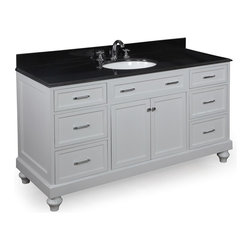Kitchen Bath Collection - Amelia 60-in Single Sink Bath Vanity (Black/White) - This bathroom vanity set by Kitchen Bath Collection includes a white cabinet, soft close drawers, self-closing door hinges, black granite countertop with stunning beveled edges, single undermount ceramic sink, pop-up drain, and P-trap. Order now and we will include the pictured three-hole faucet and a matching backsplash as a free gift! All vanities come fully assembled by the manufacturer, with countertop & sink pre-installed.