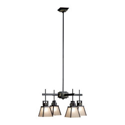 Kenroy Home - Kenroy 91608ORB Clean Slate 4 Lt Chandelier - This Mission styled family offers a fresh and uncluttered look.  Warm Oil Rubbed Bronze finish is offset against cool Natural Slate while metal trimmed shades cast a warm glow.