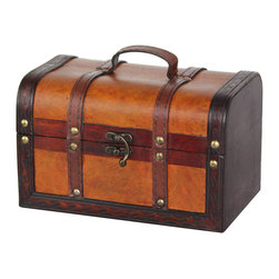 "Quickway Imports - Decorative Wood Leather Treasure Box - Small Trunk Chest - Size: 8.5"" x 5.5"" x 5.5"""