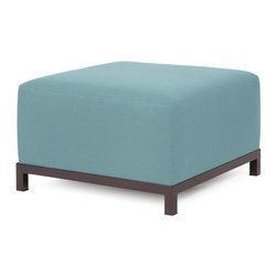 """Howard Elliott - Sterling Breeze Axis Ottoman - Mahogany Frame - At the Height of Fashion! Lounge in style on Sterling Axis Ottomans. Float the Sterling Axis Ottoman on its own or pair it up with additional Chair, Corner or Ottoman Pieces. This Chair features boxed cushions with Velcro attachments to keep the cushions from slipping and looking their best all of the time. Your Sterling Axis Ottoman will definitely turn heads with its sophisticated linen-like texture and vibrant color selection. This Sterling Breeze piece is 100% Polyester finished in a soft burlap texture in a light blue breeze color. 30.5""""W x 30.5""""D x 19.5""""H"""