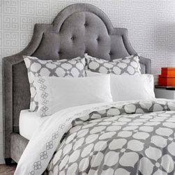 Hollywood Grey Duvet - This Jonathan Adler print would look great in an industrial bedroom loft. Geometric print? Check. Soft muted colors? Check. Contemporary yet comfy.