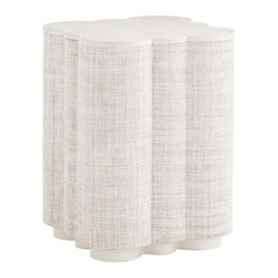 Lexington - Tommy Bahama Home Ivory Key Spar Point Chair side Table - The quatrefoil shape is covered in woven raffia on the sides as well as the top. The top features a solid rim.