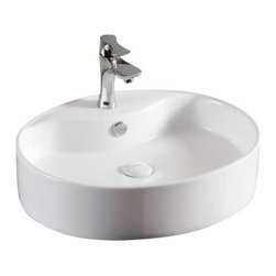 Caracalla - Oval White Ceramic Vessel Bathroom Sink, One Hole - Oval sink with flat basin. Vessel sink has a thin rim with a thicker back wall for a faucet hole. Bathroom sink comes with only one hole for a faucet and comes standard with overflow. Made in Italy by Caracalla. Stylish oval sink. one hole. vessel bathroom sink. Designed by Caracalla. Made of porcelain. Standard drain size of 1.25 inches.