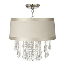 """Vienna Full Spectrum - Traditional Nicolli Clear 16"""" Wide Off-White Drum Ceiling Light - The Nicolli Clear semi-flushmount ceiling light features clear crystal elements and a chrome finish frame. The four-light design offers the timeless look of a chandelier and is updated with a stylish designer off-white drum shade with gosgrain ribbon trim. A wonderfully refreshing designer look for your living space.  Chrome finish frame and canopy. Off-white drum shade with gosgrain ribbon trim. Clear crystal. Semi-flushmount ceiling light. Takes four 60 watt candelabra bulbs (not included). 19"""" high. Chandelier only is 12"""" wide 10"""" high. Shade is 15"""" across the top 16"""" across the bottom 7"""" high. Canopy is 5"""" wide. Some assembly required; instructions included.  Chrome finish frame and canopy.  Off-white drum shade with gosgrain ribbon trim.  Clear crystal.  Semi-flushmount ceiling light.  From the Vienna Full Spectrum crystal lighting collection.  Takes four 60 watt candelabra bulbs (not included).  19"""" high.  Chandelier only is 12"""" wide 10"""" high.  Shade is 15"""" across the top 16"""" across the bottom 7"""" high.  Canopy is 5"""" wide.  Some assembly required; instructions included."""