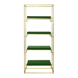Worlds Away - Worlds Away - Shadow Green Etagere - Shadow gold leafed etagere with green lacquer shelves measures