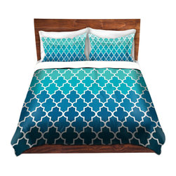 DiaNoche Designs - Duvet Cover Microfiber by Organic Saturation - Aqua Ombre Quatrefoil - DiaNoche Designs works with artists from around the world to bring unique, artistic products to decorate all aspects of your home.  Super lightweight and extremely soft Premium Microfiber Duvet Cover (only) in sizes Twin, Queen, King.  Shams NOT included.  This duvet is designed to wash upon arrival for maximum softness.   Each duvet starts by looming the fabric and cutting to the size ordered.  The Image is printed and your Duvet Cover is meticulously sewn together with ties in each corner and a hidden zip closure.  All in the USA!!  Poly microfiber top and underside.  Dye Sublimation printing permanently adheres the ink to the material for long life and durability.  Machine Washable cold with light detergent and dry on low.  Product may vary slightly from image.  Shams not included.