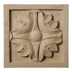 """Ekena Millwork - 3 1/2""""W x 3 1/2""""H x 3/4""""D Medium Edinburgh Rosette, Cherry - Our rosettes are the perfect accent pieces to cabinetry, furniture, fireplace mantels, ceilings, and more.  Each pattern is carefully crafted after traditional and historical designs.  Each piece is carefully carved and then sanded ready for your paint or stain.  They can install simply with traditional wood glues and finishing nails."""