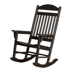 Little Cottage Co. - Heritage Traditional Rocker, Black - Enjoy  an afternoon of relaxation in one of the Rocking Chairs. Built with stylish creativity and supreme comfort in mind, the Rocking Chairs are a great way to melt the stress from your day! Constructed of durable HDPE resin, and high quality stainless steel fasteners. No maintenance. Easy to clean.