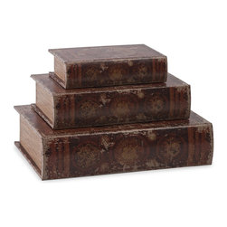 iMax - iMax World Map Book Boxes - Set of 3 X-3-42778 - This set of three book boxes discreetly stores small items in sophisticated aged world map designs.