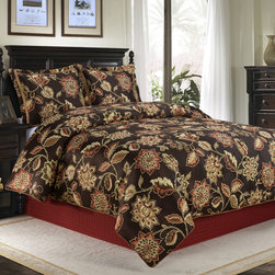 None - Putnam 4-piece Comforter Set - Enhance your master bedroom or suite with the Putnam 4-piece bedding set. The comforter and shams feature a dramatic large scale floral vine motif in rich shades of red,orange and gold on a mineral brown background.