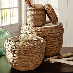 Lidded Stitched Sea Grass Baskets - Store items out of sight in this chunky open-weave basket.