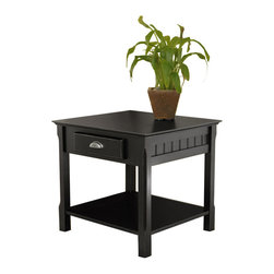 Winsome Wood - Winsome Wood 20124 Timber End Table with One Drawer and Shelf in Black - This piece offers  a subtle touch to dress up or dress down any living room. It is uniquely casual yet sophisticated, and incredibly affordable for solid wood furniture. Match with Console table (20450) and Coffee table (20238) collection. Assembly required.