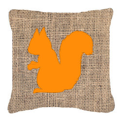 Caroline's Treasures - Squirrel Burlap and Orange Fabric Decorative Pillow Bb1119 - Indoor or Outdoor pillow made of a heavy weight canvas. Has the feel of Sunbrella fabric. 14 inch x 14 inch 100% Polyester Fabric pillow Sham with pillow form. This pillow is made from our new canvas type fabric can be used Indoor or outdoor. Fade resistant, stain resistant and Machine washable.