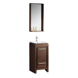 Fresca - Fresca FVN8118WG Allier Small Wenge Brown Modern Bathroom Vanity With Mirror - Fresca FVN8118WG Allier Small Wenge Brown Modern Bathroom Vanity With Mirror