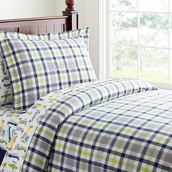 Plaid Duvet Cover - This handsome plaid bedding pairs well with other styles for your child at any age, making it a truly timeless classic.
