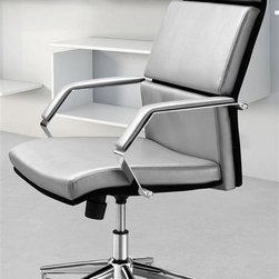 Zuo Modern - Office Chair in Silver - leatherette wrapped seat and back cushions. Chrome solid steel arms with leatherette pads. Height and tilt adjustment. Chrome steel rolling base. Warranty: One year limited. Assembly required. Seat: 19.3 in. W x 19.3 in. D x 17.7 in. - 22 in. H. Arm height: 20 in.. Overall: 27.5 in. W x 27.5 in. D x 45.7 in. H (39.6 lbs.)