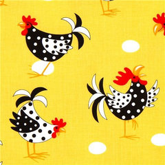 fabric yellow fabric with chicken rooster egg Robert Kaufman