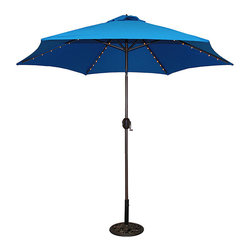 Tropishade - TropiShade 9-foot Royal Blue Aluminum Bronze Lighted Market Umbrella - With its durable construction,this blue patio umbrella is both functional and stylish. Its crank tilt adjusts easily with just a twist to customize your level of rain and sun protection,and the interior lights keep the party going all night long.