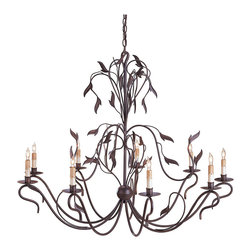 Kathy Kuo Home - Constantina Graceful Bronze Leaf 9 Light Chandelier - Crafted in grand proportions, this vine and leaf motif nine light piece draws beautifully upon Art Nouveau chandeliers and vintage organic style lighting.  Feminine, elegant and organic are rarely mingling so well.