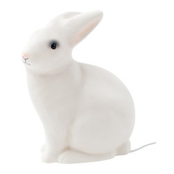 Egmont toys - White Rabbit Lamp - Docile and sweet, this little rabbit lamp will provide just enough light to create a peaceful space. Made from molded, heat-resistant resin, this lamp is perfect for the wonderland adventure in your child's imagination.