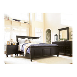 Universal Furniture - Summer Hill Bedroom Set in Midnight - The stylish Summer Hill Bedroom Set, by Universal Furniture, is both fresh and familiar. Timeless silhouettes combine with metropolitan sensibility in a relaxed leisurely attitude. The Midnight finish coats the hardwood solids and maple veneers, and the simple, modern lines soften the edges inviting relaxation and sophistication into your space. Including a King or Queen Size bed, 9 drawer dresser with mirror, chest, and two nightstands, this set represents comfort and a casual state of mind.