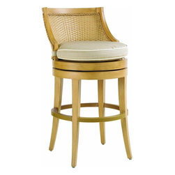 Lexington - Tommy Bahama Canberra Surf & Sand Swivel Bar Stool - The double wall, all-weather woven rattan is framed within what appears to be Quartered Ash and a braided welt on both sides of the gently curved seat back. Yet the materials are man-made to ensure protection against the elements.