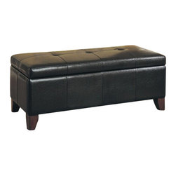 "ACMACM05632A - Teton Espresso Finish Leather-Like Upholstered Tufted Top Storage Bedroom Bench - Teton espresso finish leather like upholstered tufted top storage bedroom bench. Measures 46"" x 18"" x 18""H. Some assembly required."