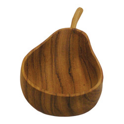 Be Home - Teak Apple And Pear Small Bowls, Set Of 2 - You'll find plenty of uses for this pretty and practical two-piece teak set that includes one pear and one apple. The plus? Bowls are made from excess material the logging industry leaves behind.