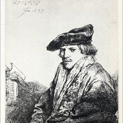 "Rembrandt Young Man Seated, Turned to the Left   Print - 16"" x 20"" Rembrandt Van Rijn Young Man Seated, Turned to the Left premium archival print reproduced to meet museum quality standards. Our museum quality archival prints are produced using high-precision print technology for a more accurate reproduction printed on high quality, heavyweight matte presentation paper with fade-resistant, archival inks. Our progressive business model allows us to offer works of art to you at the best wholesale pricing, significantly less than art gallery prices, affordable to all. This line of artwork is produced with extra white border space (if you choose to have it framed, for your framer to work with to frame properly or utilize a larger mat and/or frame).  We present a comprehensive collection of exceptional art reproductions byRembrandt Van Rijn."