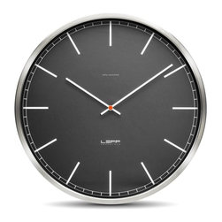 LEFF Amsterdam - One45 Wall Clock - Stainless Steel, Black Index - The design of the one clocks is instantly classic; an iconic design recognized for its timelessness, quality and durability. The brushed stainless steel case combined with the back cover makes this clock feel solid and reliable. Inside a precise Japanese movement will indicate the right time.  The black changes the whole character of the clock. Suddenly, the outlook is tougher and draws more attention. The appearance is different from the white models, although except for the dial we didn't change a thing. Due to the contrast between the hands and black dial, this is an easy to read clock. Requires AA battery; not included.