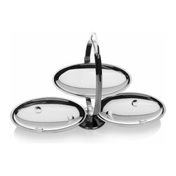 """Alessi - Alessi """"Anna Gong"""" Cake Stand - Why have just one dessert? This gleaming cake stand feels the same. It features three serving plates to hold a variety of sweets right at your table. A sleek handle allows you to easily carry the (empty) stand back to the kitchen."""