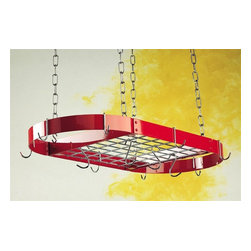 Rogar - Oval Grid Pot Rack in Red With Chrome Hooks - Lids can be placed on top of grid. Includes 8 regular and 4 grid hooks. Red w Chrome accessories. 34 in. L x 16 in. W x 2 in. H (13 lbs.)
