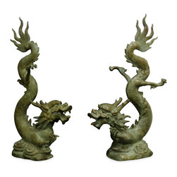 China Furniture and Arts - Bronze Flying Prosperity Dragons - From head to tail, this pair of magnificent bronze dragons is three feet tall. Both represent peace and prosperity, and are hand crafted from solid bronze. Perfect to place in front of the fire place or in the garden. (Sold as a pair.)