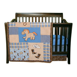 "Trend Lab - Cowboy Baby - 3 Piece Crib Bedding Set - Your little buckaroo will love sleeping with his pony, boots and hat! Trend Lab's Cowboy Baby 3 Piece Crib Bedding Set features embroidered cowboy themed appliques mixed with a cowboy themed scatter print, bandana print, classic stripe and soft velour. The color palette of powder blue, dusk blue, desert sand, chocolate brown, cream and burnt orange will help bring the Wild West straight into your nursery! Set includes quilt, crib sheet and skirt. The quilt measures 35"" x 45"" and features cowboy themed embroidered appliques set against soft caramel velour and dusk blue cotton. Patches of a bold bandana print, cowboy themed scatter print and classic stripe in a mixture of powder blue, dusk blue, desert sand, chocolate brown, cream and burnt orange create the perfect blend of color and style for your little one. Quilt is finished with a rope cord trim. Dusk blue crib sheet features 10"" deep pockets and fits a standard 52"" x 28"" crib mattress. Elastic around the entire opening ensures a more secure fit. Box pleat skirt with 15"" drop features horizontal strips of the pinstripe print, dusk blue cotton and the bandana print in chocolate, powder blue and desert sand. Matching Cowboy Baby Crib Bumpers sold separately. Complete your nursery with coordinating room accessories from the Cowboy Baby collection by Trend Lab."