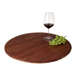 "Alpine Wine Design - Lazy Susan -22"", Wine-Infused - If the room seems like it's spinning from too much wine, maybe it's really just this lazy Susan doing its job. It's made from the top of a wine-stained barrel and rotates freely so that your wine, cheese, appetizers or nuts are never far away."