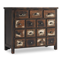 Hooker Furniture - Six Drawer Chest - Ladies love the distressed apothecary exterior of this chest. But don't worry men. Rustic half moon pulls and overall rugged sturdiness provide the macho vibe you seek in your shared abode.