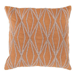 Surya Rugs - 22-Inch Square Pumpkin and Parchment Patterned Cotton Pillow Cover with Poly Ins - - 22 x 22 100% Cotton Pillow Cover w/ Poly Insert.   - For more than 35 years, Surya has been synonymous with high quality, innovation and luxury.   - Our designers have masterfully created some of the most cutting edge and versatile pieces to bring out the best in every room.   - Encompassing their expert understanding of the latest trends in fashion and interior design, each product is a perfect combination of color, pattern and texture to accommodate the widest range of tastes.   - With Surya, the best in design and quality is at your fingertips.   - Pantone: Pumpkin, Parchment.   - Made in India.   - Care Instructions: Spot Clean.   - Cover Material: 100% Cotton.   - Fill Material: Poly fiber. Surya Rugs - COM024-2222P