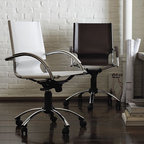 Swivel Leather Desk Chair - Sleek, Italian-crafted leather swivel chair is a luxe addition to the executive suite or the modern home office.