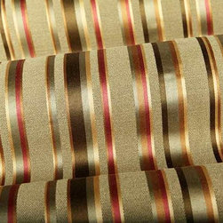 Dateline Stripe Upholstery Fabric in Sage Green - Dateline Stripe Upholstery Fabric in Sage Green is a silken linen blend with a beautiful sheen. Alternating stripes in shades of green, gold, and red create a dimensional look. This is the perfect fabric for a wing back chair or decorative accent pillows. Made with 55% linen and 45% spun viscose with a width of 54″ and a repeat of 24″ vertical and 27″ horizontal. Cleaning Code: S. CA Bulletin 117 – Class 1. Wyzenbeek 12,000 Double Rub Wear Test (Medium Duty).