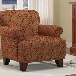 None - Sausalito Nutty Cranberry Chair - Made from wood,this Sausalito sofa features a broad backrest and curved arms. The textured fabric upholstery features a leaf design executed in cranberry chenille thread and wood legs with non-mar foot glides.