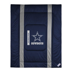"Sports Coverage - Dallas Cowboys Sidelines Comforter - This solid colored jersey mesh comforter is a great way to show support for your favorite team, and it makes the perfect gift for the ultimate fan. Each comforter looks and feels like a real jersey and has the team logo centered on solid team colors. It offers a machine washable design with warm and comfortable polyester fill. Sideline option adds a long mesh line along each side of the logo for a stylish effect. Comforters are available in Twin and Full/Queen sizes. Features: -Dallas Cowboys theme -Screen-printed team graphic -100% polyester jersey mesh -100% polyester fill -5.5 oz. bonded polyester batts -Machine washable -Made in USA -Twin size: 86"" H x 68"" W -Full/Queen size: 86"" H x 86"" W"