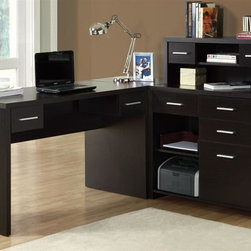 Monarch Specialties - Hollow-Core L-Shaped Computer Desk - Contemporary style. Two work surfaces. Hutch with two open shelves and one drawer. Four storage drawers. Dark cappuccino finish. Return can be on left or right side (separate pieces). Assembly Required. Desk: 62.5 in. (including corner wedge) x 23.5 in. W x 31.5 in. H. Bookcase: 36.5 in. L x 15.25 in. W x 43.5 in. H.