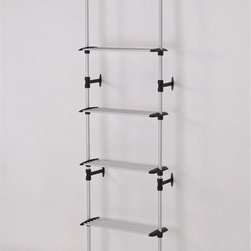 ORE International - Modern 4-Tier Telescopic Clothes Rack - This original modern and simple four tier clothes rack is designed to maximize hanging capacity, while reduce cluttering space. Each tier includes 6 additional hanging bars for organization and practicality . This sleek and attractive clothes hanger is reinforced with stylish sturdy wall mounts, while the small and compact size made this design great for storage and mobility   . Made with durable and stainless steel finished with a matte coat. 34 in. L x 13 in. W x 89-106 in. H (7 lbs.)